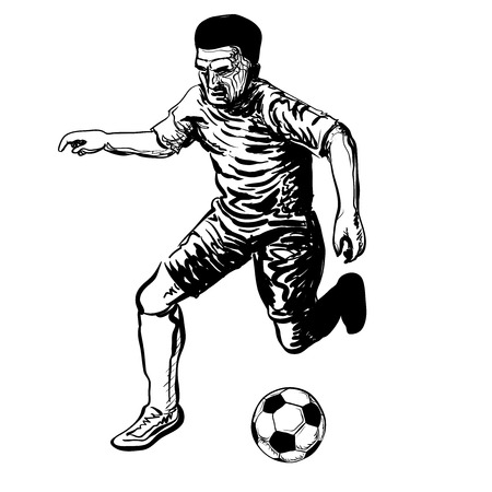 Hand drawing of soccer player kicking a ball. Vector hand drawn illustration.
