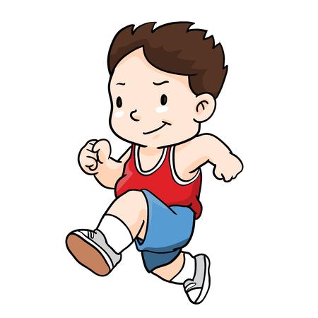 Ilustración de dibujos animados de correr chico
