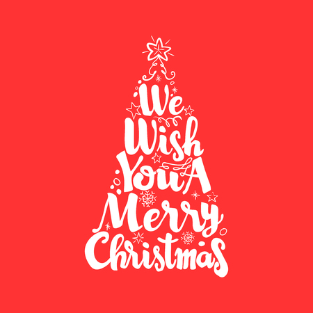 We wish you a merry Christmas Lettering shaped like a tree Vector Illustration.