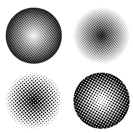 Abstract Circle shapes with halftone fill Vector Illustration Illustration