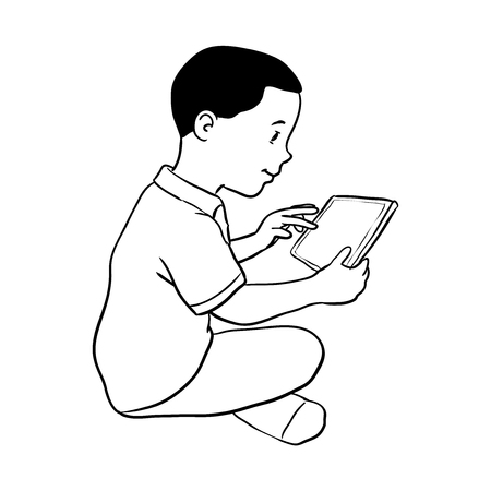 Dibujado A Mano Chico Sosteniendo La Tableta, Sentado En El Piso ...