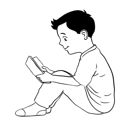 Hand drawn Boy holding Tablet, sitting on floor, Isolated on white background. Black and White simple line Vector Illustration for Coloring Book - Line Drawn Vector Illustration.