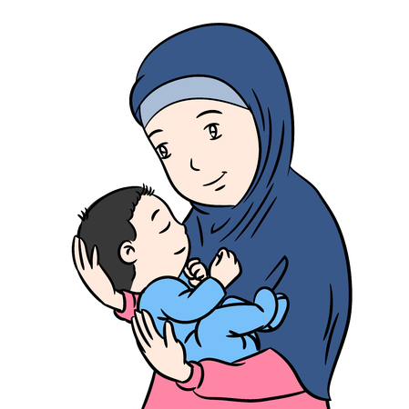 Muslim Mother and Son Cartoon, Isolated on white background - Vector Illustration.