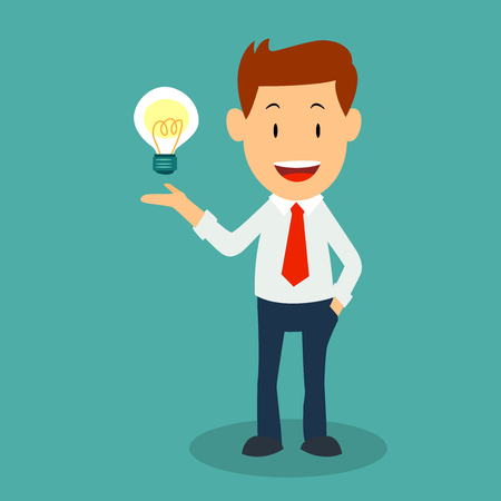 Standing businessman with lightbulb idea, in cartoon, flat Illustration.