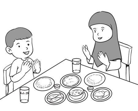 Muslim kids Having meals Illustration