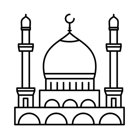 Mosque line icon, outline vector sign, linear style pictogram isolated on white. Symbol, logo illustration. Illustration