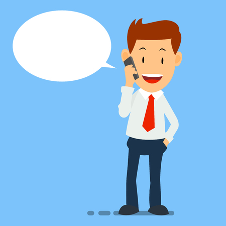 Happy Businessman using smart phone chatting, working man use smart phone - Vector Illustration for business concept.
