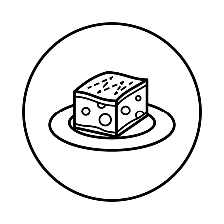 Vector of Honey Toast icon in Circle line, iconic symbol inside a circle, on white background. Vector Iconic Design.