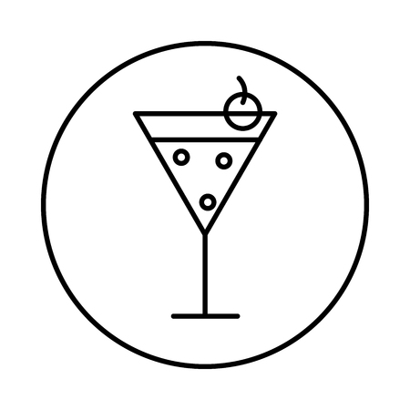 Cocktail icon in circle line, conic symbol inside a circle, on white background. Vector Iconic Design.