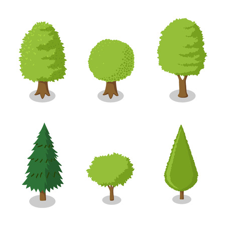 Set of isometric tree, set of park plants with green trees with various shapes -Vector Flat Illustration. Çizim