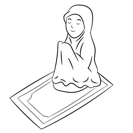 Ragazza musulmana pregando isolati su sfondo bianco. Illustrazione di vettore di linea semplice in bianco e nero per libro da colorare - Illustrazione vettoriale di linea tracciata.