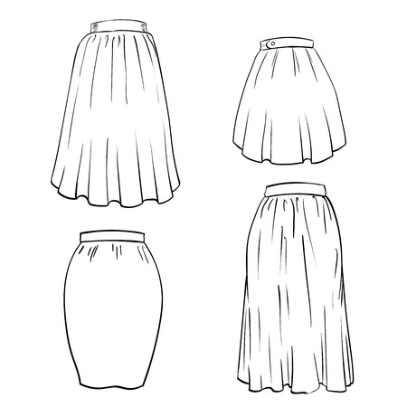Hand drawn of Skirt Isolated on white background. Black and White simple line Vector Illustration for Coloring Book - Line Drawing Vector Illustration. Vettoriali