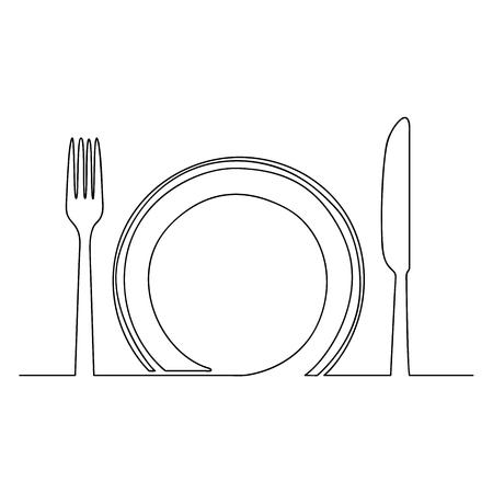 Assiette vide, fourchette et couteau, un dessin au trait isolé sur fond blanc-Vector One Line Drawing Vector Illustration.