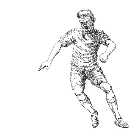 Hand drawing of Soccer Player kicking a ball - Vector Hand drawn Illustration.