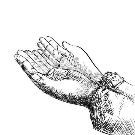 Disegno a mano mano musulmana che prega, isolato su sfondo bianco. Illustrazione di vettore di linea semplice in bianco e nero per libro da colorare - Illustrazione vettoriale di linea tracciata.