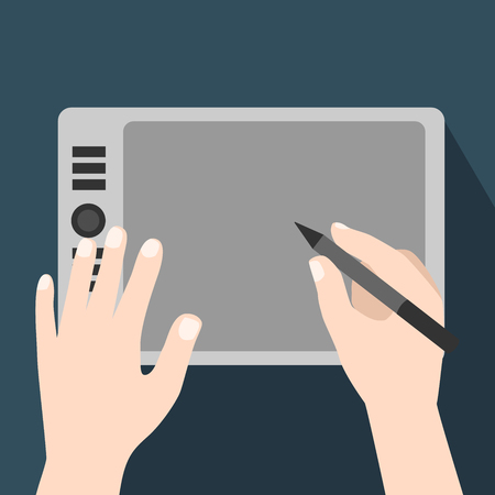 Hands using graphic tablet, Graphic Tablet Being Used with a Pen-Flat Vector Illustration.