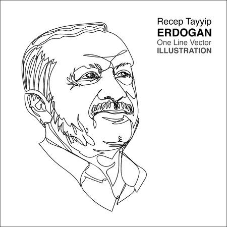30 June 2018 : President of Turkey president, Recep Tayyip Erdogan, one line drawing portrait. Illustration in Thailand by Solahuddean Gariya. Vetores