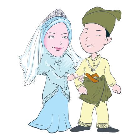 Cartoon van Maleis paar bruiloft in traditionele kostuums dragen, voor Aziatische traditionele culturele - Hand getrokken vectorillustratie. Vector Illustratie