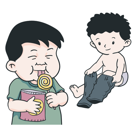 Hand drawing of Illustration of young boys is wearing pant and eating lolipop with smile facial on a white background - Vector Illustration.