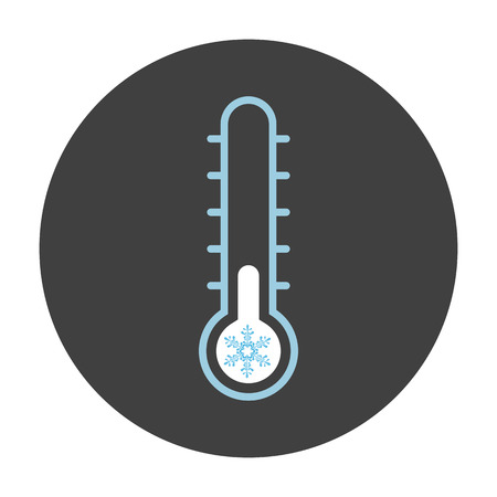 Thermometer with snowflake icon on black circle - Flat Iconic Vector.
