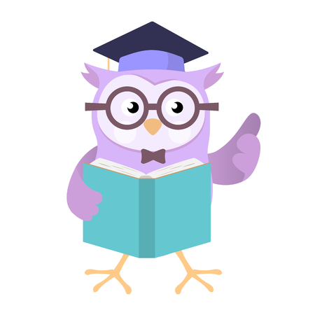 Owl wearing education cap holding book, isolated on white background, for education concept - Vector Cartoon Illustration. Stock Illustratie
