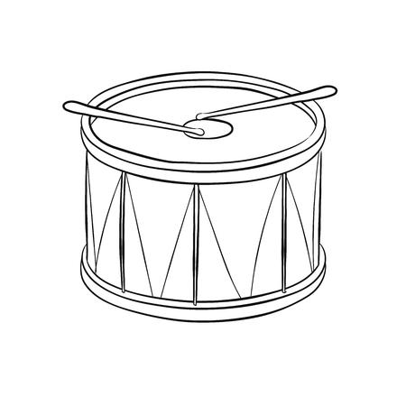 Illustration of Drum, Isolated on white background - Hand drawn Illustration.