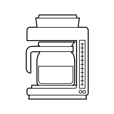 Isolated Coffee Maker on white background, Simple Line Vector Illustration