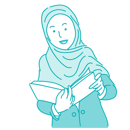 Muslim women wearing hijab holding a book, cartoon style, for business and education concept - vector illustration flat design Ilustração