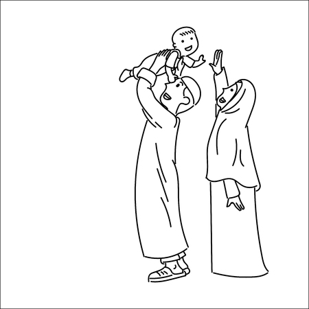 Happy Muslim family with father, mother and son, woman wearing hijab, simple line cartoon Illustration Illustration