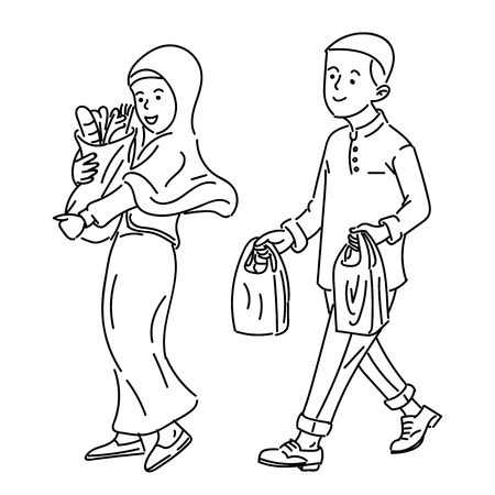 Muslim Adult couple make shopping, Happy family concept, simple vector illustration.
