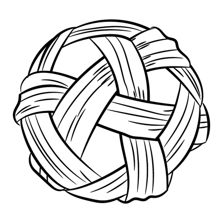 Sepak takraw handdrawn, Isolated on white backgroun, vector illustration.