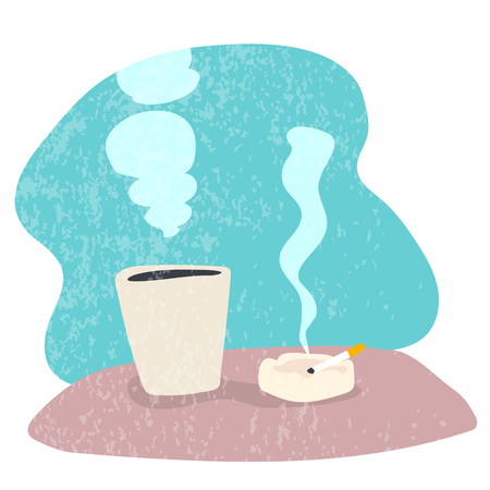 Hand drawn of Coffee and Smoking, Simple Flat design, Vector Illustration. Çizim