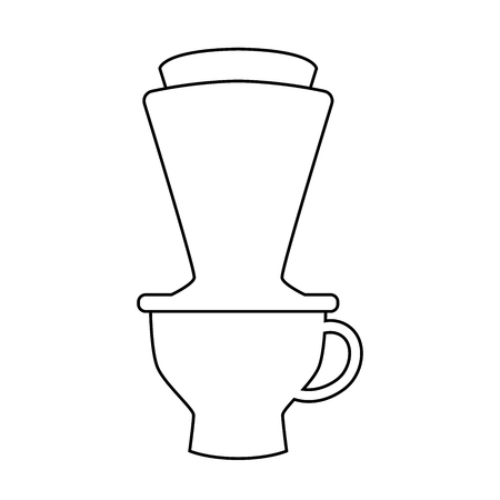 Hand drip coffee simple line vector, isolate on white background - Vector iconic design.