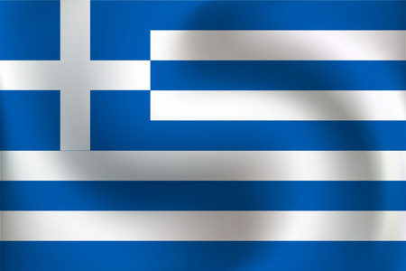 Flag of Greece  with a little Waving, Shading & Flag Colors separated layers - Vector Illustration