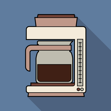 Isolated Coffee Maker, Flat design for icon. Vector Illustration