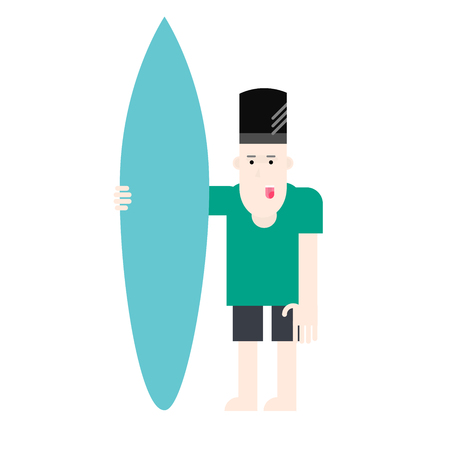 Man hold serve board, surfer standing with a surfboard, isolated on white background. Vector flat design illustration.