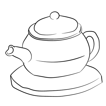 Tea poat isolated on white background for coloring book, education concept. Hand drawn Vector Illustration