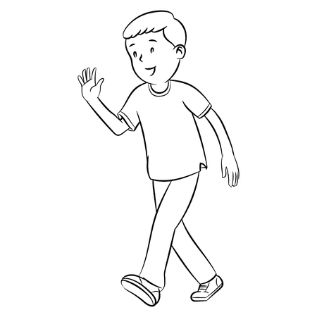 Boy waving hands, hand drawn simple line style, vector design illustrations