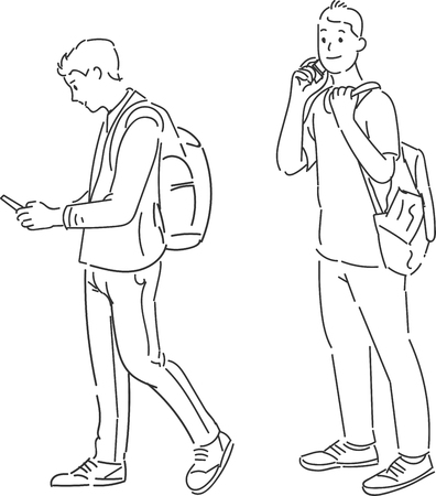 Men standing using smart phone carrying backpack, hand drawn style vector design illustration.