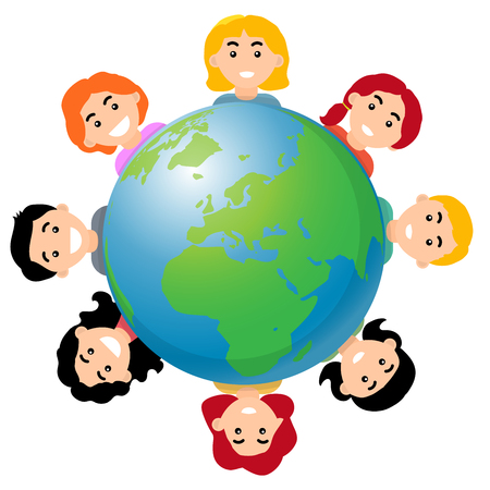 Children around the world, smile kids and the globe, cartoon flat style - vector illustration Çizim