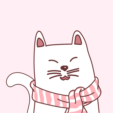 Adorable White Cat with pink scarf, character design, Doodle cartoon style, vector illustration