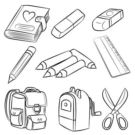 Welcome back to school, Classroom Supplies set, for coloring book, Education Concept. Hand Drawn Vector Illustration.