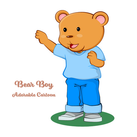 Adorable Cartoon, Boy Bear Standing with thinking. cartoon character design. Vector clip art illustration.