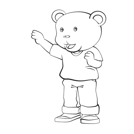 Adorable Cartoon, Boy Bear Standing with thinking. Isolated black and white, Hand drawn cartoon character design. Vector clip art illustration Çizim