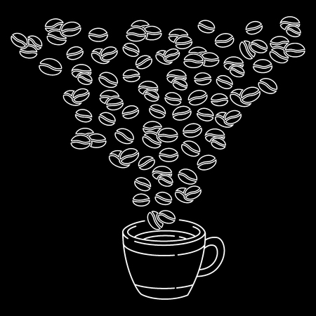 Hand drawn coffee beans and Coffee cup doodle style, isolated on black background. Ink drawing, coffee seeds. Packaging design, wallpaper, banner etc. Vector Illustration