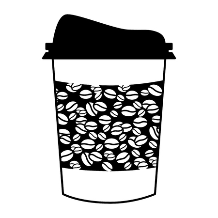 Plastic Coffee cup, coffee mug and cup to go with coffee bean banner, sketched in black ink isolate on white background Vector Illustration