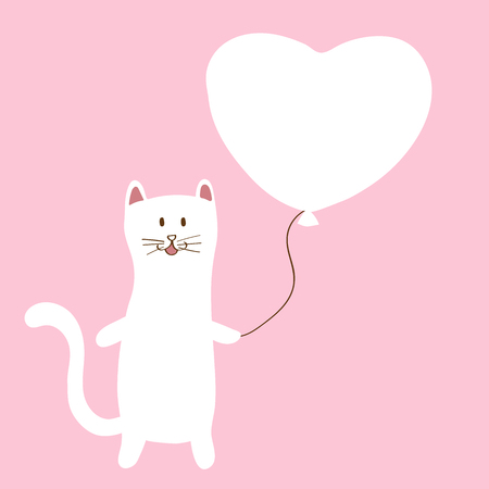 Adorable White Cat with holding a white balloon, character design, Doodle cartoon style, vector illustration Çizim