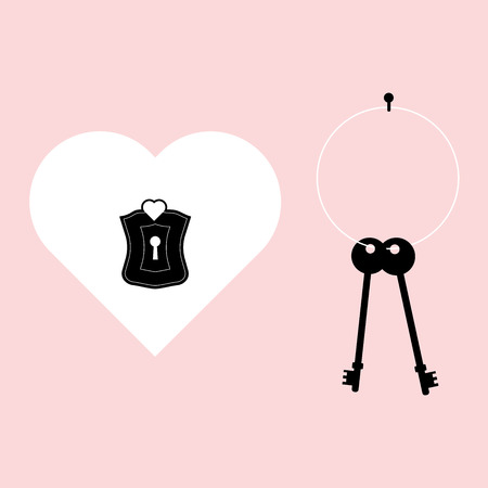 Valentines Day Heart Lock And Black Key for Valentines day greeting card, Flat Icon On Pink Background. Vector Illustration.