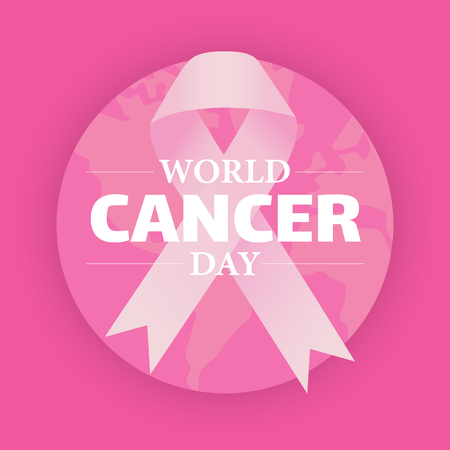 World Cancer Day with cancer awareness pink ribbon over globe on pink background, February, 4th. Vector Illustration
