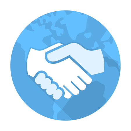 Vector of Handshake Icon, Global Partnership vector toolbar icon for software design on blue globe circle - vector iconic design
